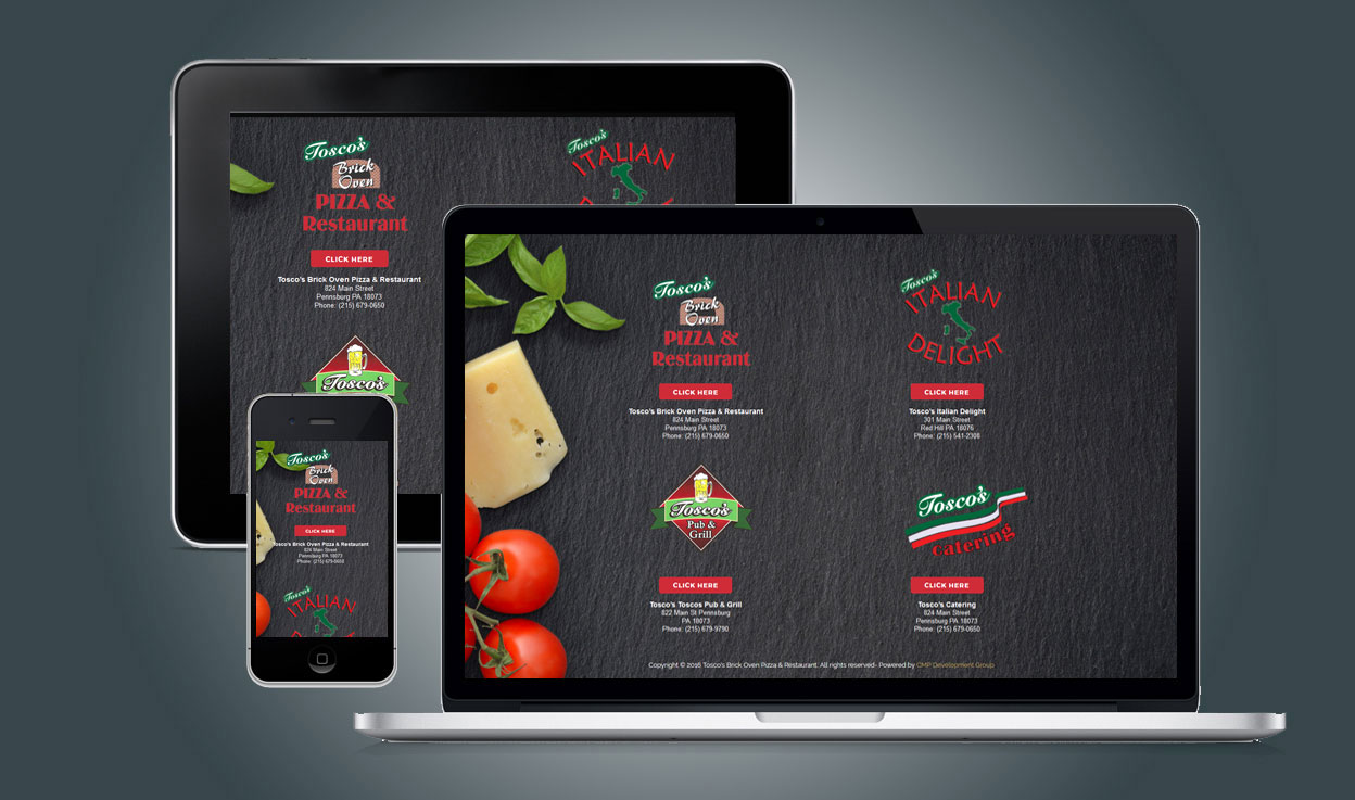 Tosco's Restaurants Landing Page